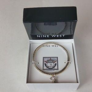 Nine West Tricolor Bangle Bracelet w/ Charm NIB